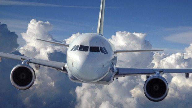 Close up image of aeroplane in flight
